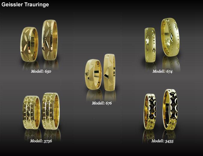 5 paar trauringe gelb gold-ohne-brilianten