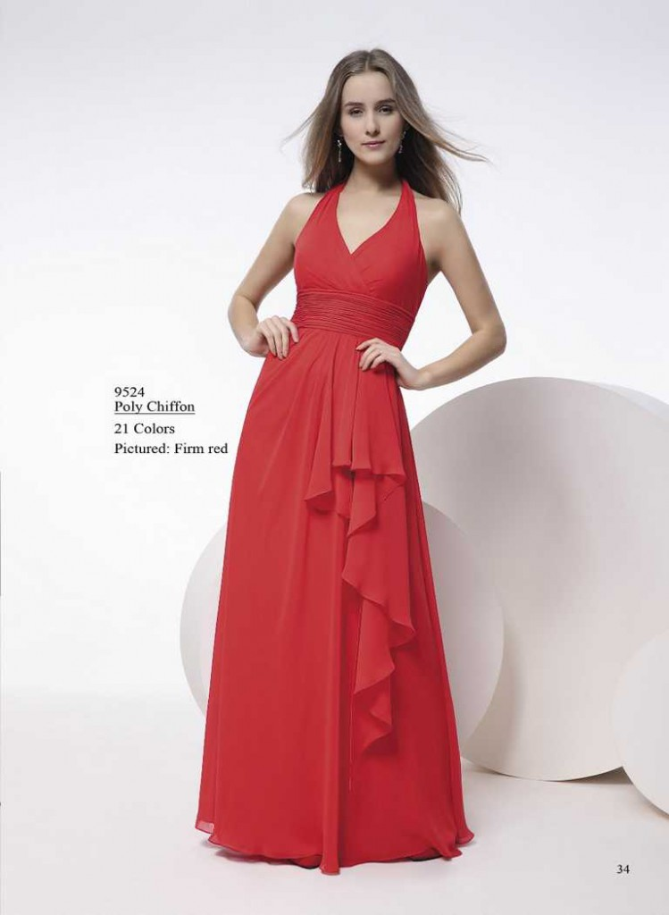 Abendkleid gerafft in hellen rot